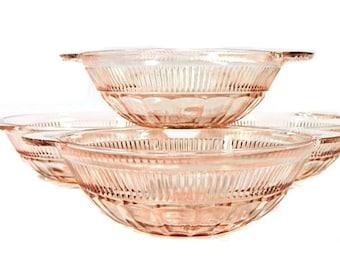 Four Pink Depression Glass Hocking Coronation Two Handled Fruit Bowls