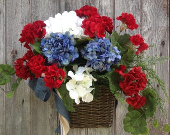 Patriotic Basket, Americana Basket, Patriotic Wreath Alternative, Red, White and Blue Wreath, Fourth of July Decor