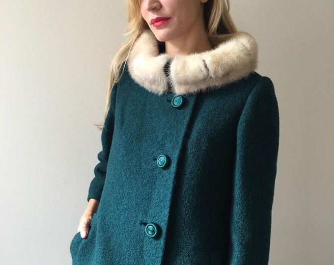Vintage 50s Emerald Green Wool Coat w/ Fur Collar