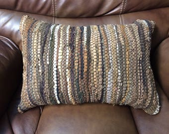 Handwoven Leather Throw Pillow