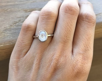 Small Oval Moonstone Ring- Rainbow Moonstone Stackable Ring- Boho Gypsy Gemstone Ring- June Birthstone Ring-  Stacking Sterling Silver Ring