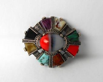 Vintage Brooch Pin Art Glass Agates Signed MIRACLE