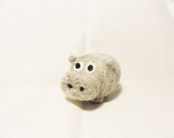 Needle Felted Hippo -  miniature hippopotamus figure - 100% corriedale wool - wool felt hippo - soft sculpture - wool hippopotamus