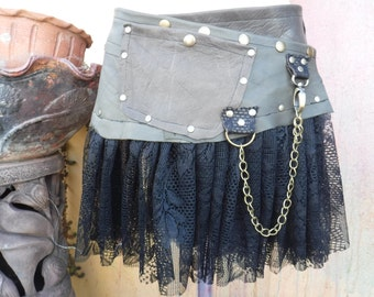 """festival ,bohemian gypsy lace & dark brown.. quality leather  belt/skirt.....34"""" to 42"""" hip or waist.."""