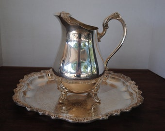 Silverplated Tea Set...Serving Tray and Water Pitcher