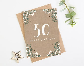50th Birthday Card Botanical Kraft