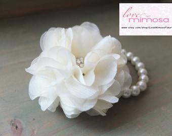 Wrist Corsage, Chiffon Flower Corsage (Ivory), Off White bridal Corsage, Off White Chiffon Rose corsage