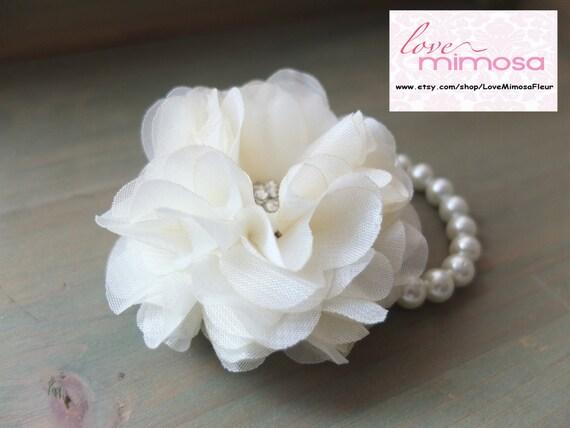 wrist corsage chiffon flower corsage ivory off white, Beautiful flower