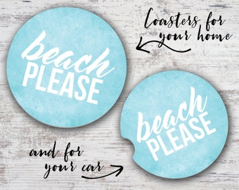 Beach Please Sandstone Home Coaster or Car Coaster