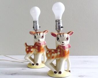 Vintage Pair of Baby Deer Lamps Mid Century Ceramic Nursery