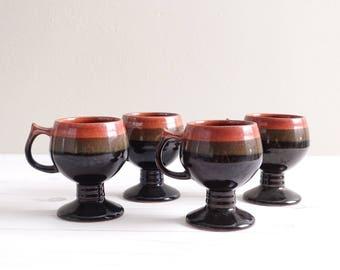 Vintage Footed Mugs Set of 4
