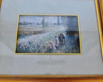 Pastel Print by American Realism Artist, L. (Lew) Gordon, Contemporary, Spring Flowers, Girls with Dad, Flowers for Mother