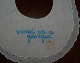 Baby Girl Double Scalloped Linen Bib trimmed in white Embroidered in Color Of Your Choice Sweet As A Georgia Peach
