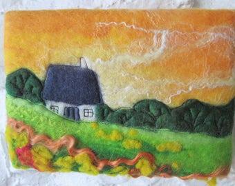 small felt painting, wet felted, felt landscape