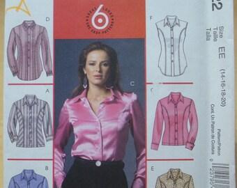 Free shipping! McCall's M4922 Semi-fitted shirt sewing pattern 14-16-18-20 UNCUT