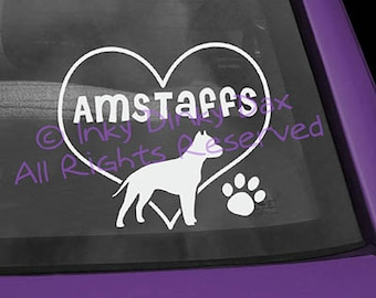 American Staffordshire Terrier in Heart Decal