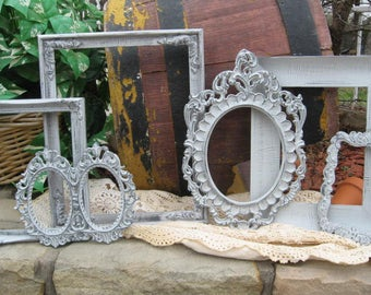 Set Of 6 Shabby Chic Frames - Farmhouse Frame Set - Rustic Picture Frames - Gray - Ornate Gallery Wall Decor