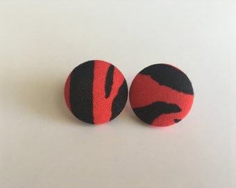 Red and Black Zebra Print Fabric Button Earrings
