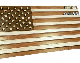 United States Flag Challenge Coin Holder - Cherry, Maple and Walnut - Wall Mounted - Military