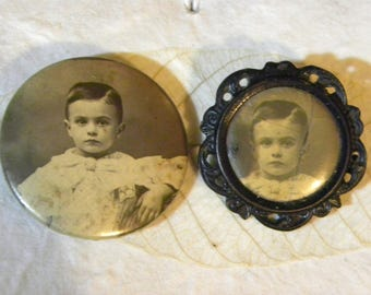 Set of Two Vintage Baby Photo Pins Sepia Brooches