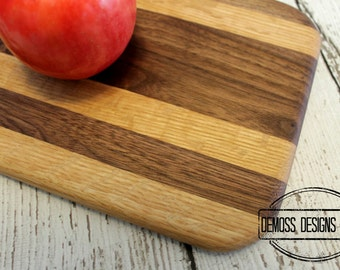 Wood Cutting Board Small, Handmade with 2 Wood Varieties, Bar Cutting Board, Fruit Cutting Board