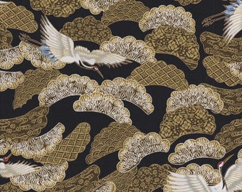 Red Rooster Fabric, Akahana, Tossed Cranes, Birds with Gold Metallic Accents, 100% cotton