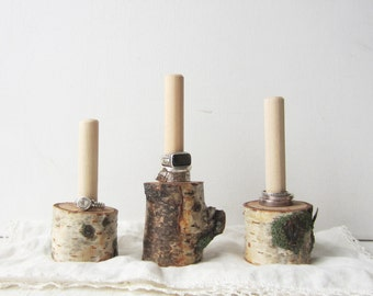 ONE Natural Birch Ring Holder Display - Birch Log Jewelry Display - Quantities READY To SHIP