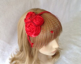 Vintage Inspired Red Wedding Fascinator Headband, Red Short Veil fascinator, Fascinator For Short Hair, Red Bridal Fascinator, Bandeau Veil