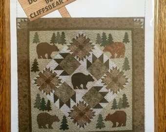 """PLEASE don't FEED the BEARS! quilt pattern - applique and pieced bear claw blocks - 49""""x49"""" by Boulder Creek Designs"""
