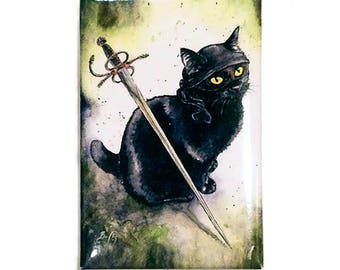 Dread Pirate Diesel Magnet: Watercolour Princess Bride Black Cat