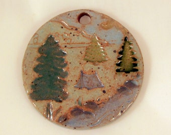 Large Glazed Pottery Pet Cremains Motif Pendant or Ornament - Custom Memorial Pet Cremation Keepsake -  BY THE RIVER