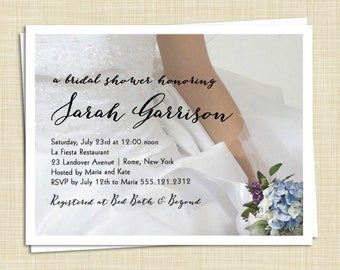 10 Bridal Shower Invitations - Hydrangea Lilac Bouquet - PRINTED