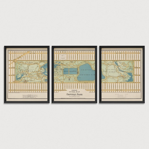 Old Central Park Map Art Print 1875 New York City Antique Map Archival Reproduction - Set of 3 Prints