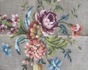 Floral Needlepoint Vintage Hiawatha Heirloom Canvas