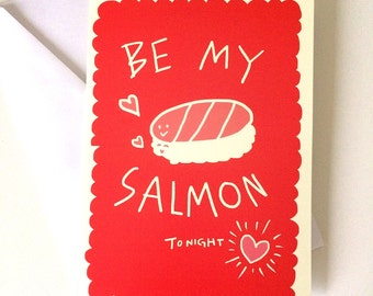 Sushi Unicorn Valentine Card // Be My Salmon Tonight