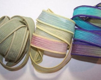 3 Pack Special Sale/Silk Ribbons/Hand Dyed/Wrist Wraps/Sassy Silks/Ready to Ship/ See Description for Details/101-0420
