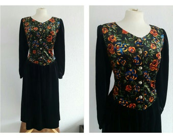 Vintage Floral Velvet Dress  - Rose Print Dress - Romantic, Prairie, Steampunk, Goth