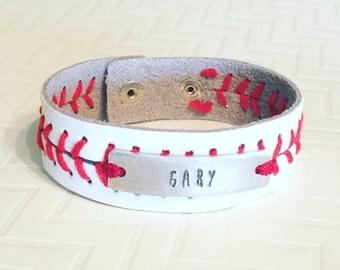 Baseball Bracelet - Hand Stamped Personalized Baseball Leather Bracelet - Block Font