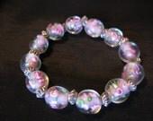 Gifts under 10, Pink glass beads bracelet, stretch bracelets, pink beads rose jewelry