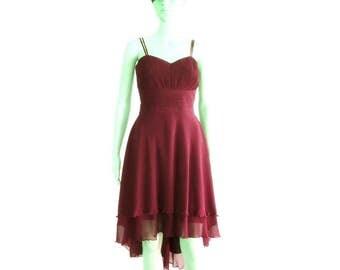 Burgundy Bridesmaid Dress. Burgundy High Low Dress. Knee Length Chiffon Dress. Evening Short Dress.