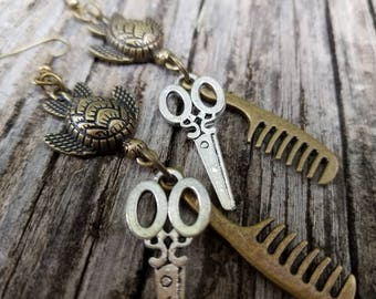 Sea Turtle Hair Stylist Scissor and Comb Charm Earrings