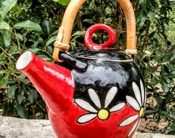Flower Tea Pot, Tea Pot, Red and Black Tea Pot
