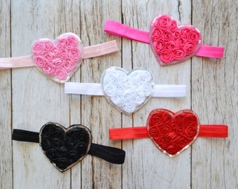 Valentines Day Heart Headbands, You pick color, first Valentines day, Baby headband,  Valentine headband, heart headbands