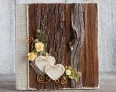 Wood wedding rustic heart and burlap album/Heart wedding album/Vintage 4x6 photo wedding album/Keepsake album/Wedding gift/Christmas gift