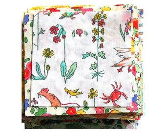 Liberty 80 Mini Patchwork Quilting Fabric Scrap Pack Bundle Mixed Colours and Patterns Small Mini Pieces Flowers Floral Cotton Tana Lawn
