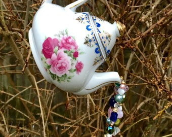 Repurposed Tea Pot Mobile, Sun Catcher, Hanging Garden Art, Upcycled Vintage Tea Pot, Recycled Home Decor, Kitchen Window Accent, Gift Idea