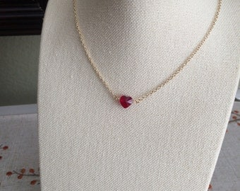 Red Heart Swarovski Crystal Sterling Silver Gold Simple Small Dainty Minimalist Layering Necklace Valentine's Bridesmaid Gift Teen Jewelry