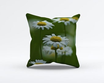 Daisey Flowers Painting Pillow Cover 15 x 15 inch, Green cushion cover, Decorative Pillow Cover, Home decor