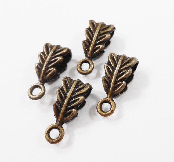 Bronze Necklace Bails 13x6mm Antique Brass Jewelry Bails, Leaf Bails, Bronze Bails, Jewelry Findings, Jewelry Making, Beading Supplies, 10pc