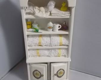 1/2th miniature dollhouse Bathroom cupboard/cabinet, complete accessories included